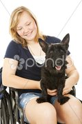 Disabled Girl and Canine Friend Stock Photos
