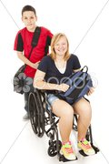 Disabled Student and Brother Stock Photos