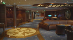 Elegant lounge and bar interior in a cruise ship Stock Footage