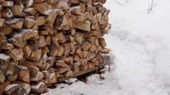 Hands unload firewood from wheelbarrow Stock Footage
