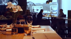 Interior restaurant silhouettes of people dinner Stock Footage