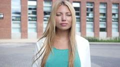 Beautiful Blonde Girl Walking Outdoor Stock Footage