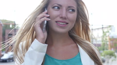Close Up, Beautiful Girl Walking and Talking on Phone Stock Footage