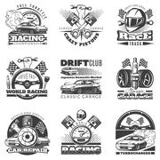 Set of car racing black monochrome emblems, labels and championship race badges Piirros