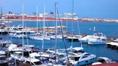 NAPLES, ITALY - 4K sea bay boat Stock Footage