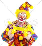 Happy Clown With Balloon Doggie Stock Photos