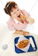 Waitress Eating Fast Food Stock Photos