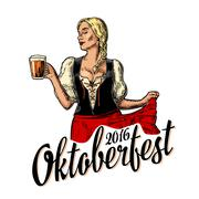 Poster to oktoberfest festival. Young sexy woman wearing Bavarian dress Stock Illustration