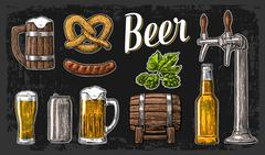 Beer set with tap, class, can, bottle, barrel, sausage, pretzel and hop. Vint Stock Illustration