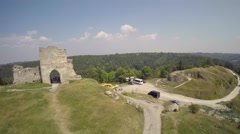 Aerial view of an old fortress Stock Footage