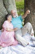 Relaxed Seniors Birdwatching Stock Photos