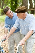 Caring For Dad Stock Photos
