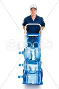 Water Delivery on Hand Truck Stock Photos