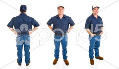 Blue Collar Man - Three Perspectives Stock Photos