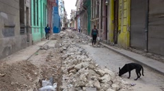 An old street undergoes construction and work in the old city of Havana, Cuba. Stock Footage
