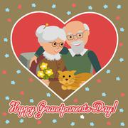 Happy senior man woman family with cat. Greeting card for grandparents day Stock Illustration