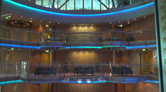 Cruise ship lounge and atrium bar - luxury onboard interior Stock Footage
