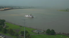 Riverboat on Mississippi on foggy, misty day Stock Footage