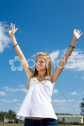 Blond Teen Praise Stock Photos
