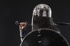 Mongol warrior in armour Stock Photos