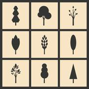 Flat in black and white concept mobile application trees silhouette Stock Illustration
