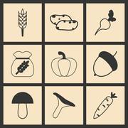 Flat in black and white concept mobile application harvest Stock Illustration