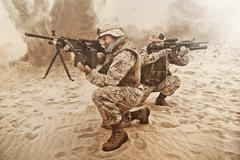 US marines in action Stock Photos