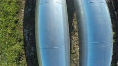 Fly over the pipes. aerial survey. Old and new pipes Stock Footage