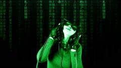 Virtual matrix girl chroma music dance slow Stock Footage