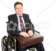 Disabled Businessman with Briefcase Stock Photos