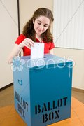 Election - Young Voter Casts Ballot Stock Photos