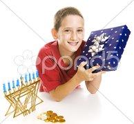Little Boy Celebrates Chanukah Stock Photos