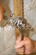 Installing Plumbing Valve Stock Photos