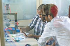 Smart engineers using modern 3d technology Kuvituskuvat