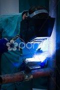 Blue Flame Welder Stock Photos