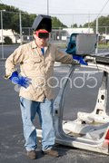 Factory Worker on Break Stock Photos