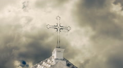 Cross church sky bad clouds Stock Footage
