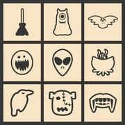 Flat in black and white concept mobile application halloween icons Stock Illustration