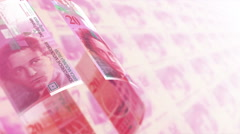 Swiss Francs Money Banknotes Rotating Video Background. Seamless Loop. Stock Footage