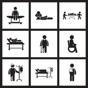 Assembly stylish black white icons Patients and health care Stock Illustration