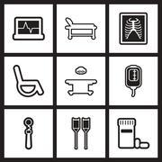 Assembly stylish black and white icons medicine Stock Illustration