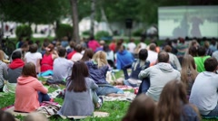Russia, Novosibirsk, 2016: Showing an open-air movie Stock Footage