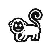Stylish black and white icon monkey with bananas Stock Illustration