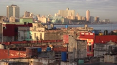 Excellent establishing shot of Havana Cuba with decaying buildings and skyline. Stock Footage