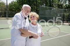 Senior Mixed Doubles Stock Photos