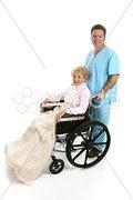 Disabled Senior & Nurse Profile Stock Photos