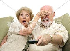 Seniors Shocked by TV Stock Photos