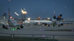 Airplanes taxiing at Frankfurt International Airport. Stock Footage