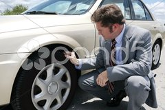 Flat Tire with Screw Stock Photos