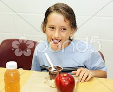 School Lunch - Messy Eater Stock Photos